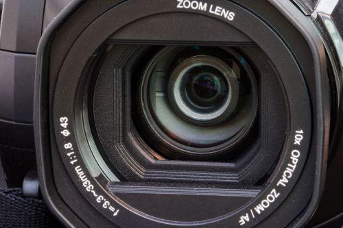 fotoaparatas, video, vaizdo kamera, objektyvas, stiklas, juoda, objektyvas