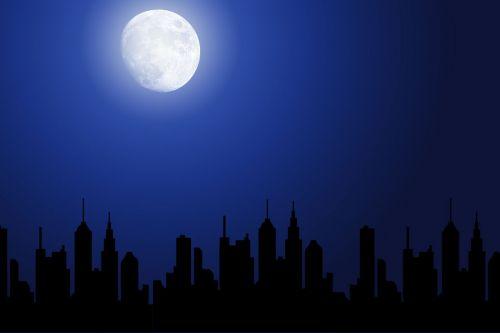 miestas, Miestas, siluetas, pastatas, namai, naktis, tamsi, mėlynas, mėnulis, šviesa, miestas naktį