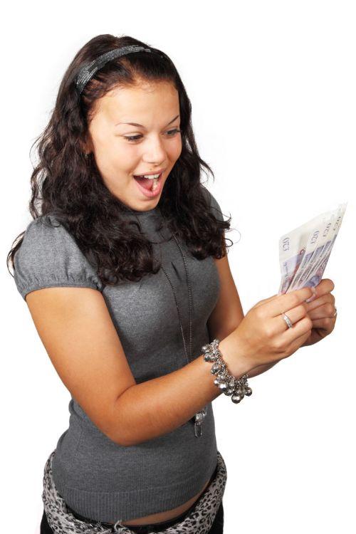 verslas, pinigai, finansai, mergaitė, laimingas, pinigai, asmuo, šypsena, sėkmė, balta, nugalėtojas, laimėti, jaunas, Britanija, svarai, sterlingas, katerina, bubnikova, laimėti pinigus