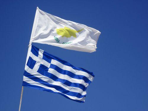 Kipras, Europa, vėliava, vėliavos, graikų kalba, Graikija, Viduržemio jūros, dangus, kipras ir graikų vėliava