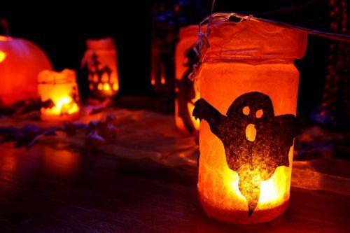 tamsi, apdaila, kritimas, švytėjimas, žėrintis, Halloween, apšviestas, žibintas, lapai, žibintai, oranžinė, vaiduoklis, baugus, sezonas, baisu, triukas, vaiduoklis