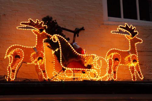 gyvūnas, Kalėdos, apdaila, elnias, šviesa, šiaurės elniai, rogės, žiema, xmas, geltona, šiaurės elnių rogės