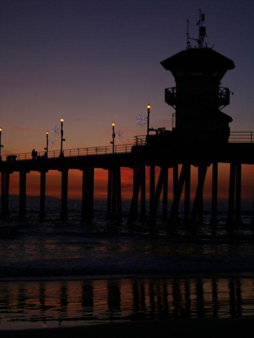 saulėlydis, Kalifornija, Ramiojo vandenyno pakrantė, Huntington & nbsp, paplūdimys, prieplauka, saulėlydis saulėlydis