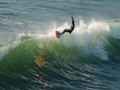 surfer, banglenčių sportas, Huntingtonas, papludimys, Kalifornija, Ramiojo vandenyno regionas, vandenynas, banga, Longboard surfer ant bangos crest