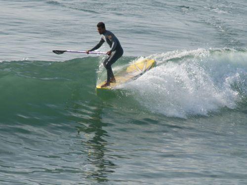 surfer, banglenčių sportas, Huntingtonas, papludimys, Kalifornija, Ramiojo vandenyno regionas, vandenynas, banga, paddleboard surfer kabo penkis