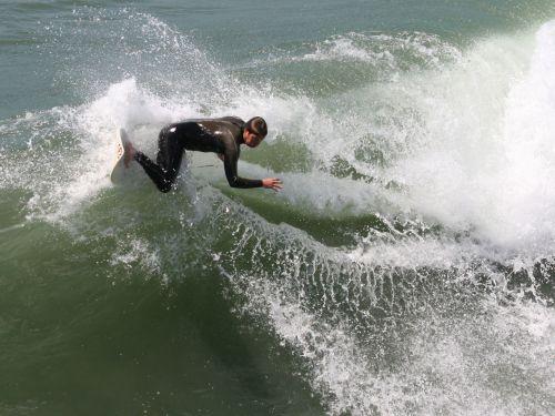 surfer, banglenčių sportas, Huntingtonas, papludimys, Kalifornija, Ramiojo vandenyno regionas, vandenynas, banga, surfer smashes curl