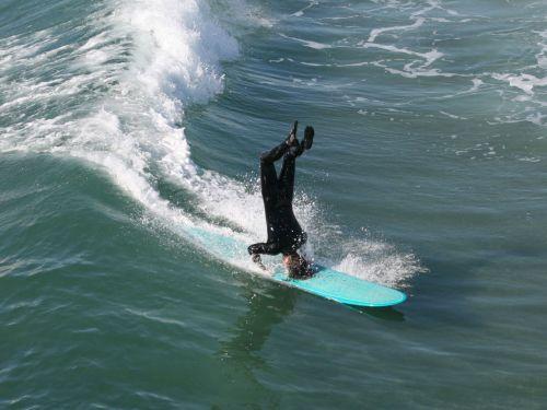 surfer, banglenčių sportas, Huntingtonas, papludimys, Kalifornija, Ramiojo vandenyno regionas, vandenynas, banga, Longboard surfer yra galvos aukštas