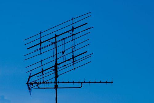 priėmimas, antena, tv, transliuoti, gauti, televizija, radijas, antena, metalas, dangus, tv antena