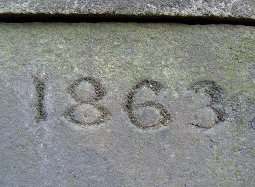 Rokas, akmuo, drožyba, data, 1863, tekstūra, 1863 m