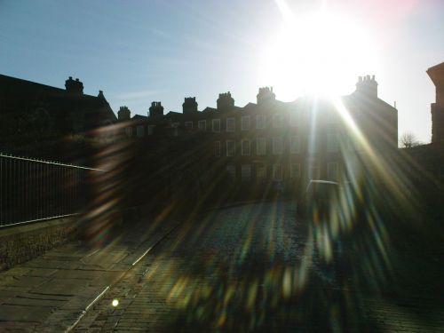 brangakmeniai, saulė, ruduo, namai, Anglija, saulėta molio gatvė
