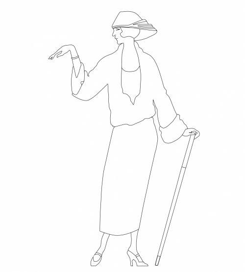 moteris, Lady, Moteris, mergaitė, 1920s, vaikai, dažymas, puslapis, dažymas & nbsp, puslapis, kontūrai, Scrapbooking, menas, iliustracija, Laisvas, viešasis & nbsp, domenas, 1920-ųjų moteris spalvinimo puslapis