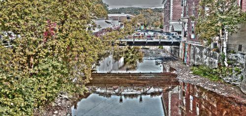 usa, amerikietis, vintage, 1950, tiltas, vanduo, pastatai, miestas, Miestas, kaimas, upė, srautas, americana, mažas & nbsp, miestas, meno, dažytos, 1950 m. Miestas