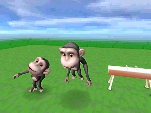 2, du, beždžionės, praktikuojantis, pommel, arklys, žolė, gyvūnai, Sportas, mėlynas, dangus, balta, debesys, 2 beždžionės su bombų arkliu