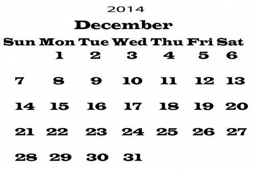 gruodžio mėn ., 2014, kalendorius, šablonas, metai, data, datas, dienoraštis, planuotojas, mėnuo, juoda, balta, fonas, Iliustracijos, 2014 m. Gruodžio mėn. Šablonas