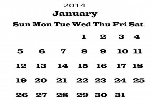 sausis, 2014, kalendorius, šablonas, metai, data, datas, dienoraštis, planuotojas, mėnuo, juoda, balta, fonas, Iliustracijos, 2014 kalendoriaus sausis šablonas