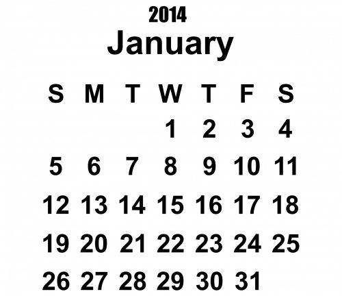 sausio mėn. & nbsp, 2014 & nbsp, kalendorius, 2014 & nbsp, kalendorius, 2014, kalendorius, sausis, šablonas, metai, data, datas, dienoraštis, planuotojas, mėnuo, juoda, balta, fonas, Iliustracijos, 2014 kalendoriaus sausis šablonas