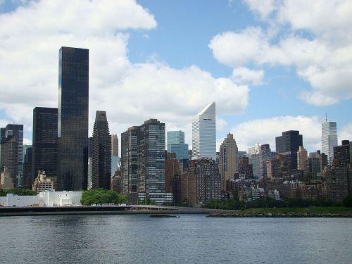 miestas, Miestas, naujas, York, dangus, debesys, panorama, pastatas, bokštas, upė, sala, Miestas