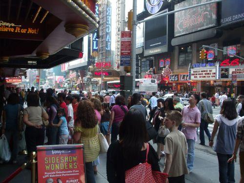naujas, York, Manhatanas, 42nd, gatvė, minios, laikai, kvadratas, plačiajuostis, midtown, orientyras, teatras, nyc kartus kvadratas 1