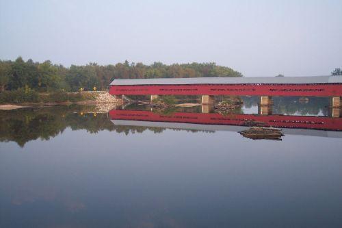 padengtas, tiltas, vasara, upė, padengtas tiltas su atspindžiu