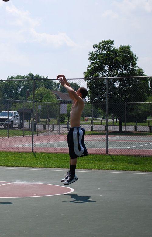 šokinėti, berniukas, krepšinis, šokinėti