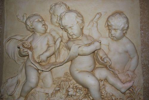 angelas, angelai, kūdikis, tinkas, mesti, skulptūra, kūdikio angelai