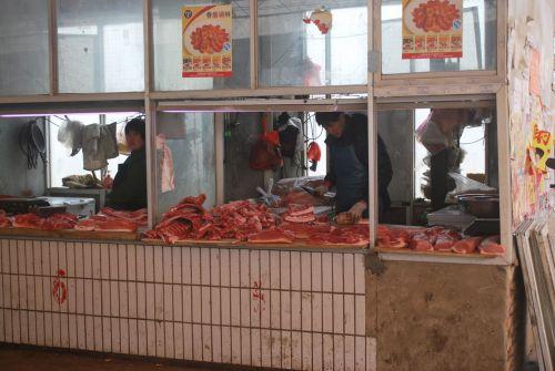 mėsininkas, parduotuvė, kinai, turgus, mėsa, kiniškas mėsininkas