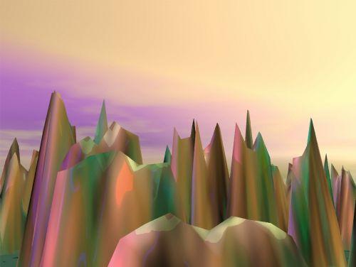 Iliustracijos, clip & nbsp, menas, iliustracija, grafika, 3d, padengti, atvaizdavimas, 3d nbsp, padengti, kraštovaizdis, scena, vaizdingas, lauke, sirrealis, kalnai, šuoliai, 3 siurrealistiniai kalnai