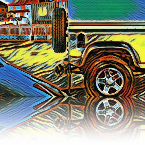 4x4, automobilis, išjungti & nbsp, kelių & nbsp, automobilį, spalvotas & nbsp, automobilis, atspindys, vakarus & nbsp, kirby, Wirral, išjungti & nbsp, kelią, pajūryje, kranto & nbsp, pusė, 4x4 spalvingas automobilis su atspindžiu