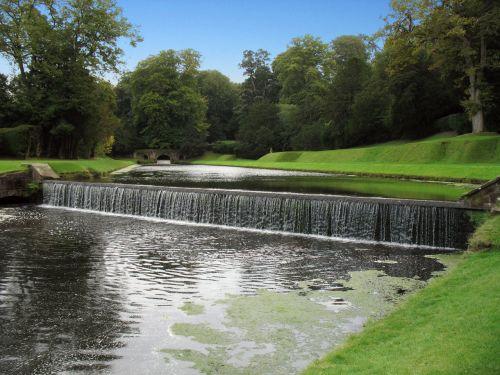 vanduo, krioklys, kriokliai, žolė, veja, parkas, kriokliai