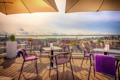 Aachen,stogas,terasa,perspektyva,kėdė,stalas,namai,miesto,perspektyva,iš viršaus,vaizdas,debesys
