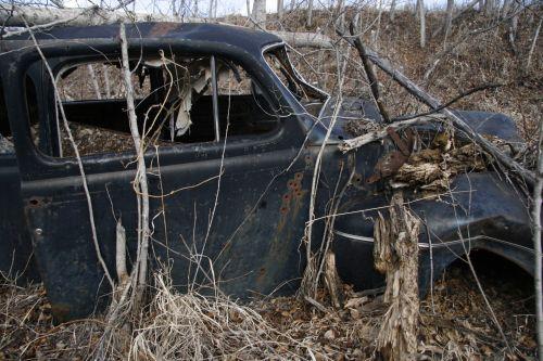 paliktas, automobilis, nuolaužos, šiukšlių, bullet & nbsp, skylės, apleistos automobilio nuolaužos junk