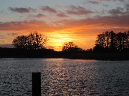abendstimmung,afterglow,ežeras