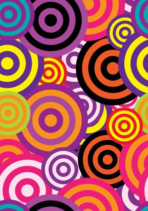 abstraktus, tapetai, modelis, apskritimai, retro, 60s, 70s, spalvinga, besiūliai, fonas, popierius, menas, iliustracija, Laisvas, viešasis & nbsp, domenas, Scrapbooking, abstraktus 60s apskritimai tapetai