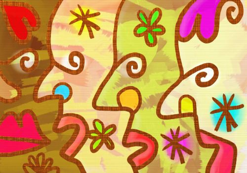 Iliustracijos, clip & nbsp, menas, iliustracija, grafika, dažyti, dažymas, abstraktus, veidai, žmonės, įvairovė, grupė, abstraktūs veidai