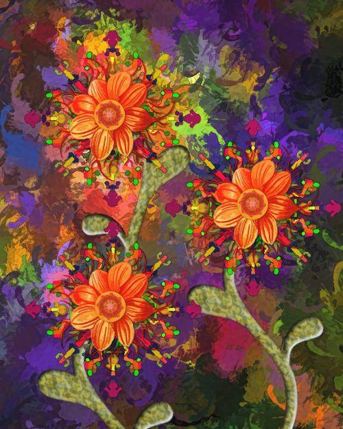 abstraktus, sirrealis, gėlės, menas, meno kūriniai, dažymas, skaitmeninis & nbsp, menas, skaitmeninis & nbsp, tapyba, abstrakčios gėlės