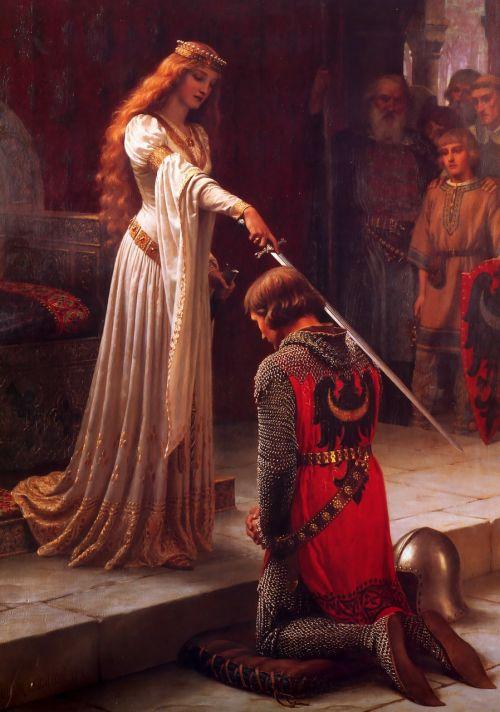 apdovanojimas,riteris,Viduramžiai,apdovanojimas,edmund blair leighton,dažymas