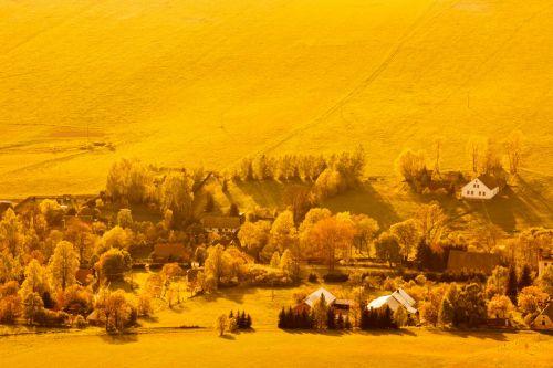 kaimas, antena, saulėlydis, kraštovaizdis, vaizdas, kaimas, kaimas, namai, geltona, aerofoto kaimas