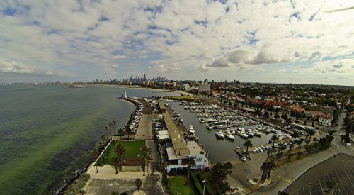 Melburnas, Viktorija, australia, st & nbsp, kilda, marina, valtys, jūra, miestas, vaizdas iš oro st kilda australia