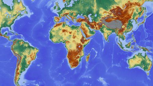 afrika,žemėlapis,žemynas,Pietų Amerika,Europa,pasaulio žemėlapis,reljefo žemėlapis,aukščio profilis,aukščio struktūra,spalva,kartografija,mercatoriaus projekcija,atspalvis,aukštumos žemėlapis,didelis reljefas,didelio reljefo žemėlapis,topografija