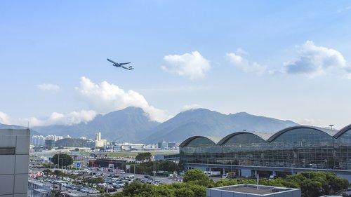 oro uostas, Oro uostas viešbučiai, statybos, didelio aukščio, atletiškas takelis, dangus, saulėlydžio, Honkongas, JET de eiti kišenė, Ngong stalo, oro sparnus, Miestas, Peržiūrų, debesis, kalnas