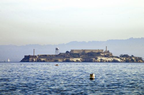 alcatraz, alcatraz & nbsp, sala, san & nbsp, francisco & nbsp, įlankoje, San & nbsp, francisco, kalėjimas, įkalinimas, įkalintas, pabėgti & nbsp, iš & nbsp, alcatraz, Pabegti, senas, dažytos, tapybos, meno, vanduo, sala, alcatraz sala