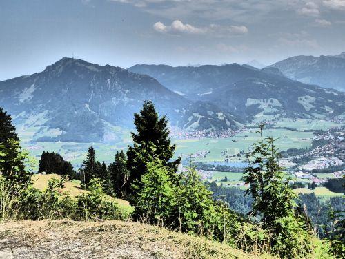 Allgäu,kalnai,žygiai,apželdintas,Alpių,kraštovaizdis,Allgäu Alpės