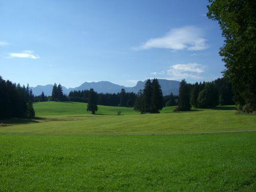 Allgäu,kalnų panorama,pieva,miškas,žalias,dangus,mėlynas,Roßberg 1948m,brentenjoch 2000m,Agenstein 1987m