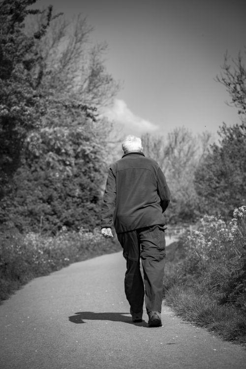 vienas, vyras, vienas, žmonės, kelias, kelias, juoda & nbsp, balta, pradėti, galas, senas, vienas žmogus