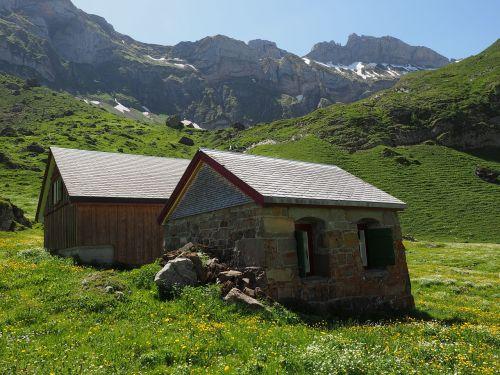 alpe,alm,meglisalp,Bergdorf,namai,Alpių kaimas,appenzell,vidausrhoden,Alpsteino regionas,Kelionės tikslas,bažnyčia,koplyčia,migracijos tikslas,Sakntis regionas
