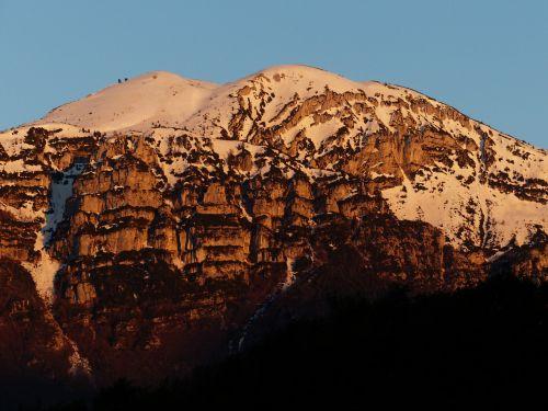 Alpenglühen, Monte Altissimo, Monte Altissimo Di Modena, Kalnas, Garda, Garda Kalnai, Monte Baldo Tvirtas, Monte Baldo, Aukščiausiojo Lygio Susitikimas, Snieguotas
