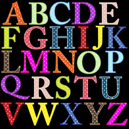 abėcėlė, raidės, abėcėlė & nbsp, raidės, a-z, spalvinga, šviesus, polka & nbsp, taškų, taškai, dėmės, iliustracija, Iliustracijos, Scrapbooking, abėcėlės raidės