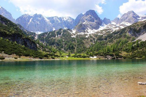 Alpių,ežeras,kalnai,vasara,kraštovaizdis,gamta,Bergsee,kalnų peizažas,austria,panorama,tyrol,vaizdingas,žalias,šventė