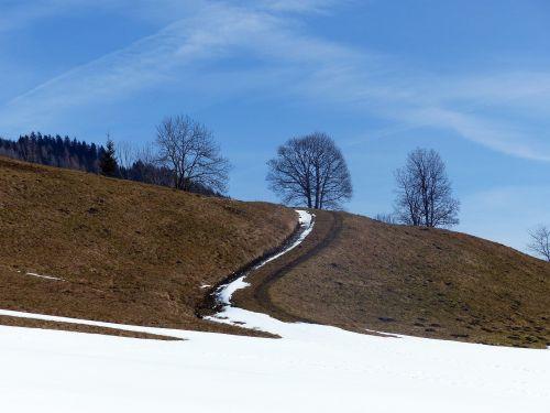 Alpių kelias,pavasaris,sniego grotelės,toli,purvo kelias,komercinis kelias,juostos,pieva,kalnų takas