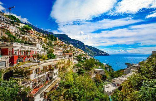 amalfi pakrantė,italy,Positano,sorrento,amalfi,ispanų,Viduržemio jūros,pakrantė,mėlynas,jūra,kalnuose,Miestas,miestas,Hillside,Krantas,kelionė,jūros pakrantė,tolimas vaizdas